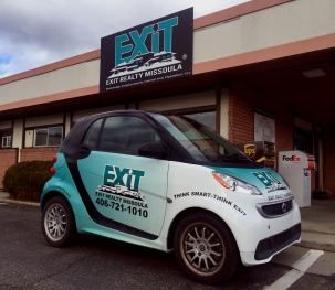 EXIT SIGN AND CAR