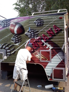 Football camper being worked on